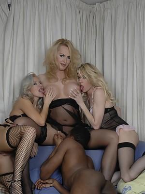 Three tgirls & a man having crazy group sex